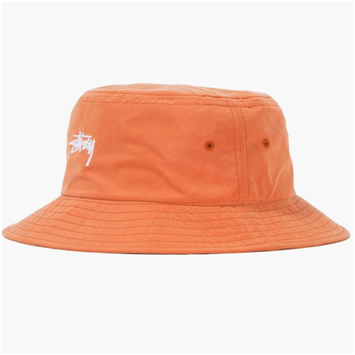 Herrmode trend orange bucket hat stussy