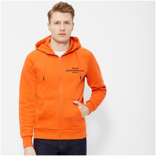herrmode trend orange hoodie peak performance