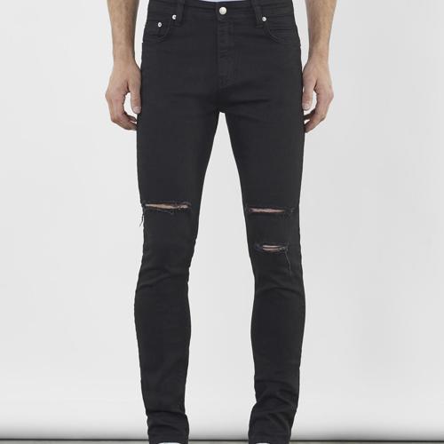 svarta slitna jeans herr Just Junkies