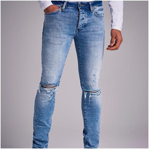 Nuew Slitna Blå Jeans Herr