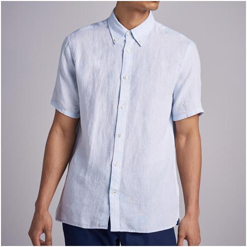 kortärmad linneskjorta herr blå