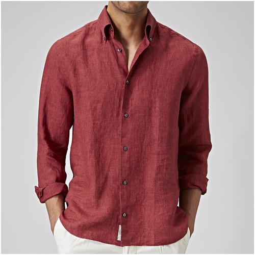 Röd linneskjorta herr