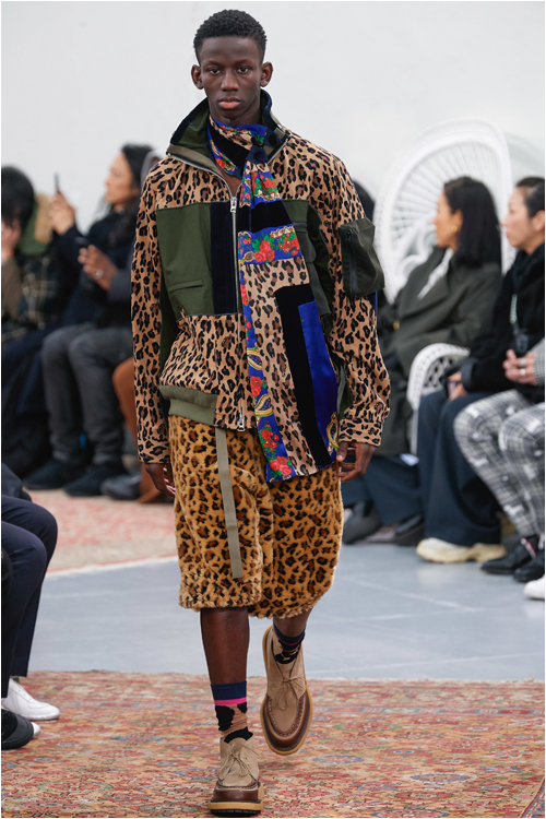 Herrmode 2019 höst: Leopardmönstrad outfit från Sacai