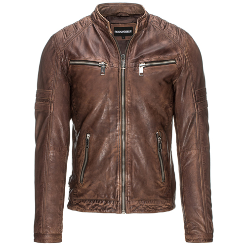 brun läderjacka herr