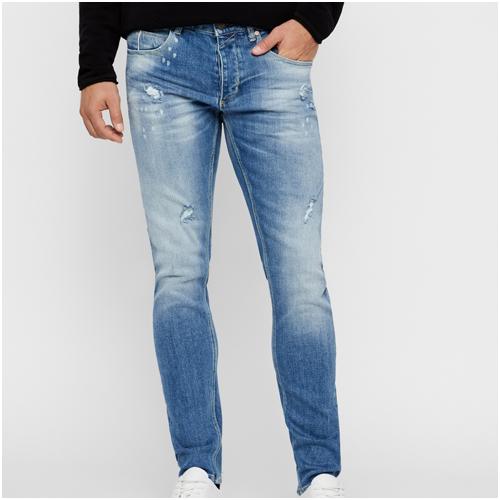 Slitna blå jeans herr