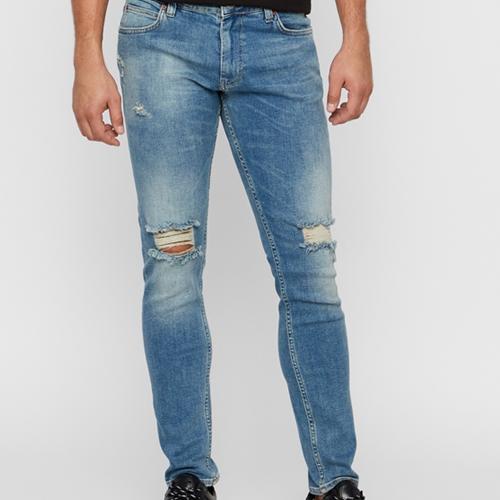 blå slitna jeans just junkies