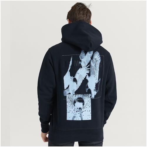 Snygg svart hoodie herr Helmut Lang