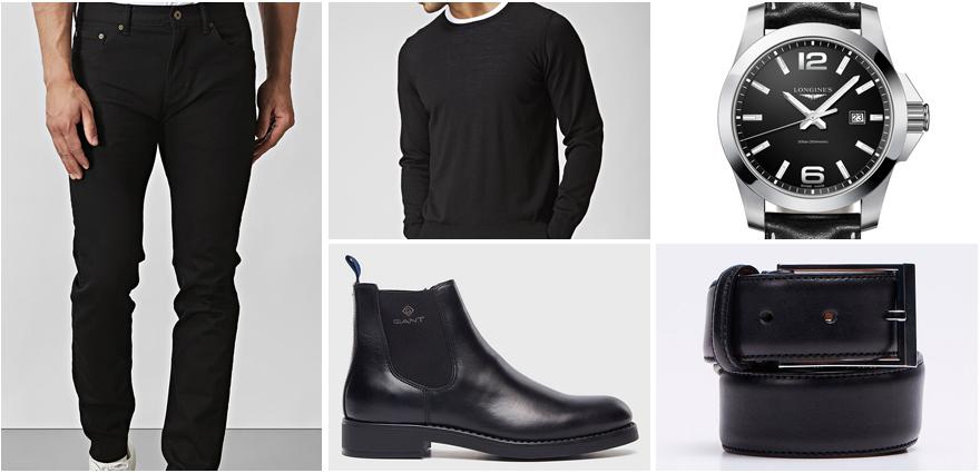 Svarta jeans herr outfit jobb
