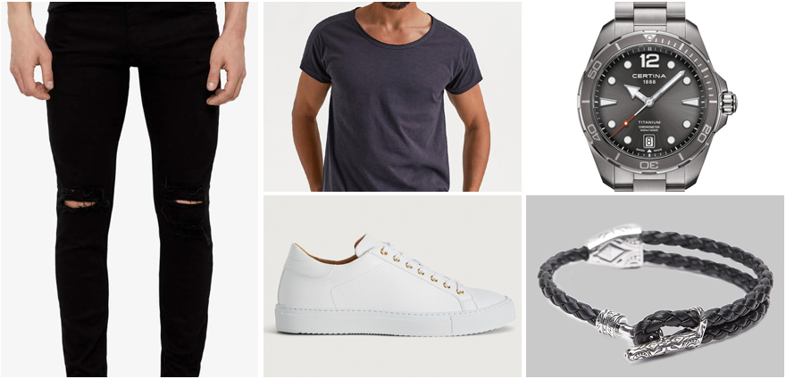 Svarta Jeans outfit herr rebellish