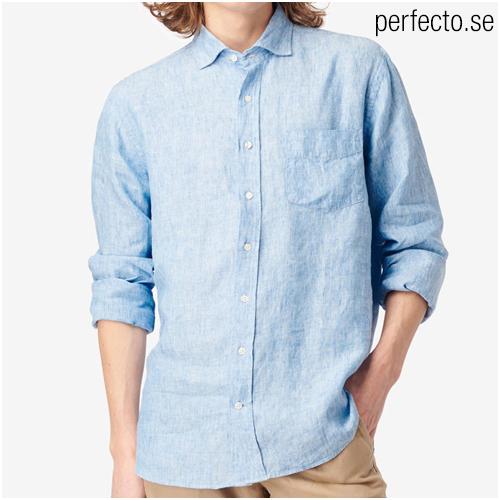blå linneskjorta herr