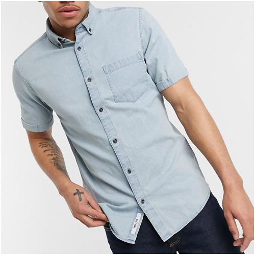 kortärmad jeansskjorta herr