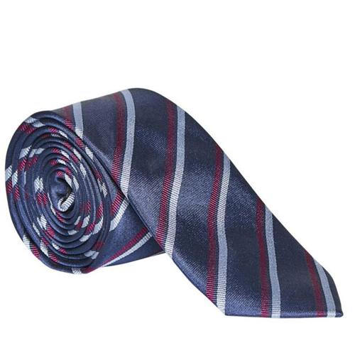randig slips till blå kostym