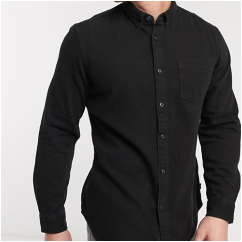 svart jeansskjorta herr