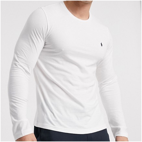 långärmad vit t-shirt herr